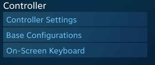Steam Controller Settings Menu